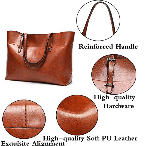 Women Tote Bags Big Lady Purse Top Burgundy Shoulder FiveloveTwo Satchel Messenger PU handle Super Handbags Leather Hobo BdqfwTnwvz