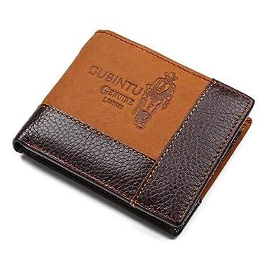 Genuine Leather Wallets for Men Foviza Coin Pocket Zipper Wallet Cards Holder Purse