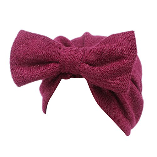 (Barlingrock Bow Knot Head Wrap,Cute Boho Knitting Hat Beanie Hat for Children Baby Kids Girls Hair Accessories (1PC) (Red))