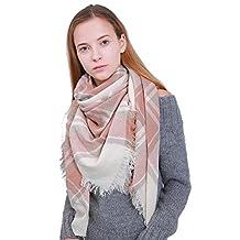MissShorthair Warm Plaid Blanket Scarf Large Square Tartan checked Shawl Wrap
