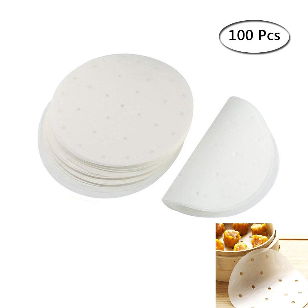 Steamer Paper Liners Perforated Parchment Round Non-Stick Cooking Paper for Air Fryer Steaming Basket (White, 6inch) Ronoa