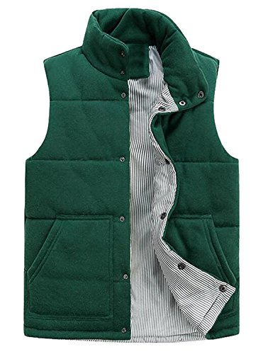 Davikey Men's Fashion Stand Collar Padded Down Vest Outdoor Vest 1US-L (Morph Suit Price)