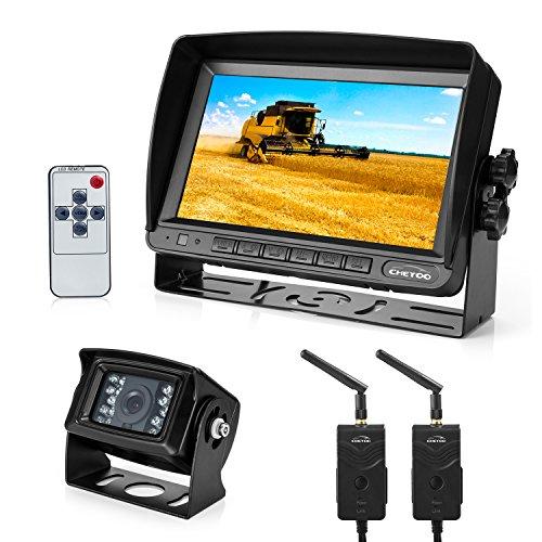Funk Rückfahrkamera mit Monitor Kit, 2.4G Digitale Funk Rückfahrsystem,18 IR LED Wasserdicht Kabellose Kamera + 7