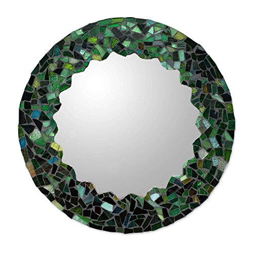 NOVICA Mosaic Glass Wall Mounted Mirror, Green, 'Mosaic In Emerald'