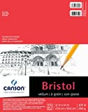 Canson Foundation Series Bristol Paper Pad, Heavyweight Paper for Pencil, Vellum Finish, Fold Over, 100 Pound, 11 x 14 Inch, Bright White, 15 Sheets
