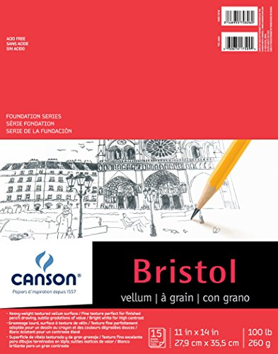 Canson Foundation Series Bristol Paper Pad, Heavyweight Paper for Pencil, Vellum Finish, Fold Over, 100 Pound, 11 x 14 Inch, Bright White, 15 ()