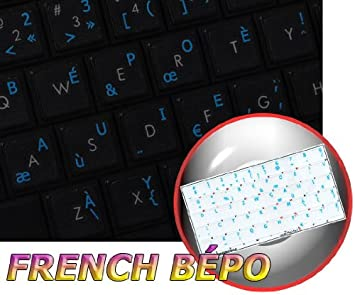FRENCH BEPO KEYBOARD STICKERS RED LETTERING TRANSPARENT BACKGROUND