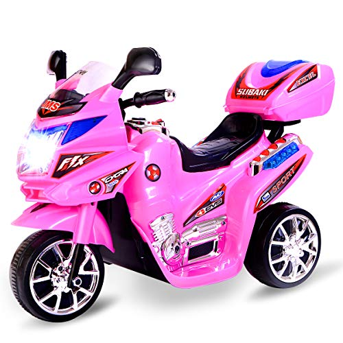 Costzon 3 Wheel Kids Ride On Motorcycle, 6V Battery Powered Electric Bicycle Toy w/ Music, Horn, Headlights, Motorcycle for Boys & Girls (Pink) - Headlight Toy