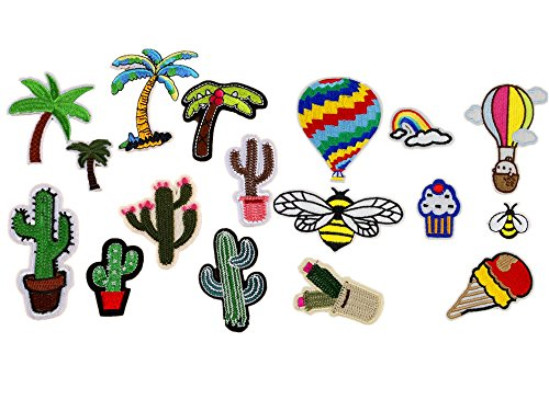 17pcs Coconut Tree Cactus Hot Air Balloon Bees Dessert Embroidered Tropical Hawaii Patches Sew Iron on Appliques Motif (Balloon Motif)