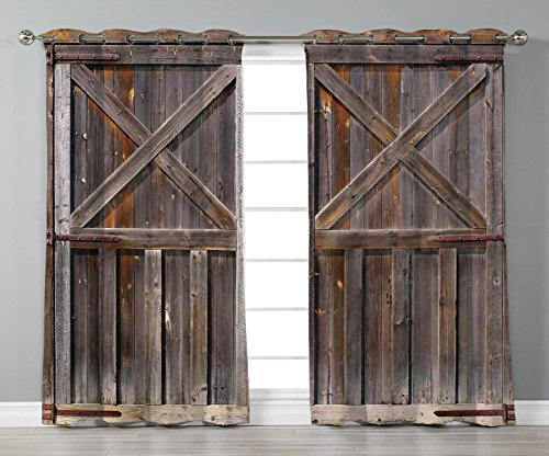 Thermal Insulated Blackout Grommet Window Curtains,Rustic,Old Wooden Barn Door of Farmhouse Oak Countryside Village Board Rural Life Photo Print,Brown,2 Panel Set Window Drapes,for Living Room Bedroom