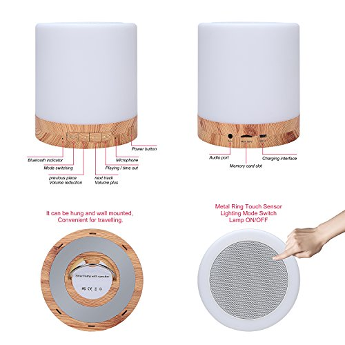 Table Lamp with Bluetooth Speaker – Perfect for Bedside Night Stand, Desk or Table – Six Color LED Light with Touch Control – Audio Speaker - Faux Wood Base by Dependable Direct (Image #3)