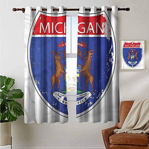 (petpany Curtains for Living Room American,State of Michigan Flag,Complete Darkness, Noise Reducing Curtain 42