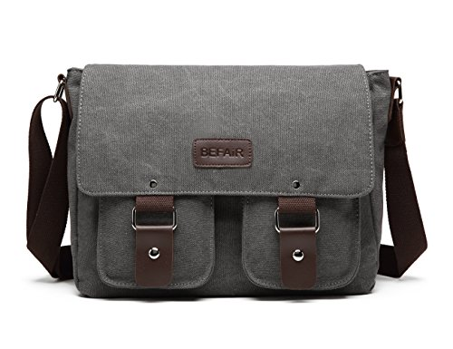 BEFAiR Canvas Messenger Bag Vintage Shoulder Bag Laptop Bag School Bag Bookbag Travel Bag for Men and Women Grey by BEFAiR