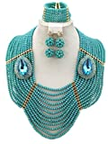 Soyagift 12layers TealGreen Crystal Beads Multi-style Brooche African JewelrySet