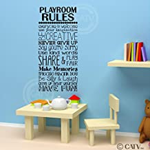 """Playroom Rules wall saying vinyl lettering art decal quote sticker home decal (16""""W x 35""""H)"""