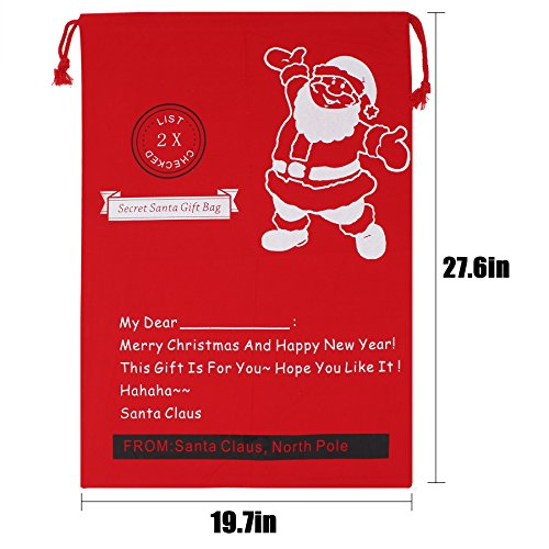 """Christmas Bag Santa Sack Canvas Bag For Gifts Santa Sack Special Delivery Extra Large Size 27.6""""x19.7"""" (Red Pattern 12)"""