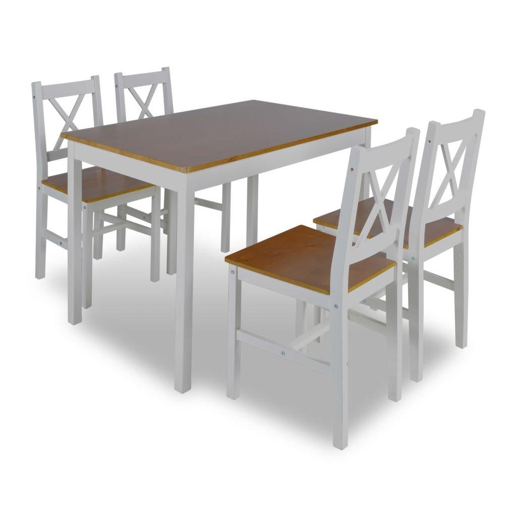 vidaXL 1 ensemble Table en bois + 4 chaises Couleur Marron Cuisine Salle à manger Set