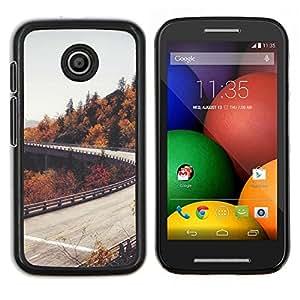 LECELL--Funda protectora / Cubierta / Piel For Motorola Moto E -- Camino del otoño Árboles Gris Cielo --
