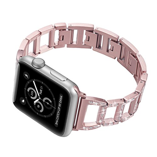 Band for Apple Watch 42mm,Series 3 Women Bling Metal Replacement Rose Gold Bracelet,Wristband Stainless Steel with Rhinestone for Apple Watch Series 3/2/1 42MM,Nike+,Sport,Edition