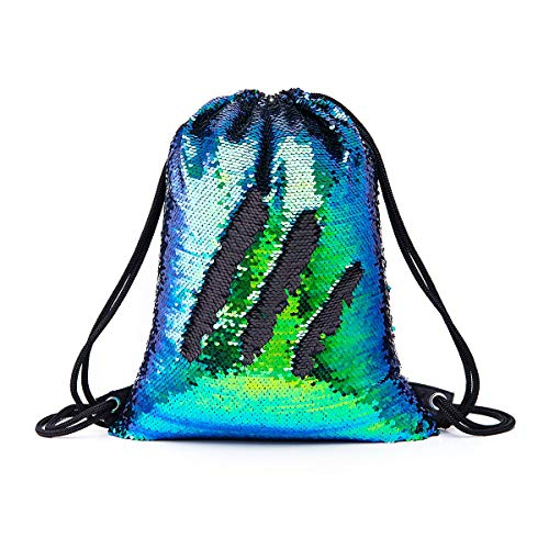 (Morelegant Sequin Drawstring Backpack Mermaid Glittering Gym Camping Hiking Dance Party Shoulder Sling Bag Casual Daypack Gifts for Kids GirlsBoys Women)