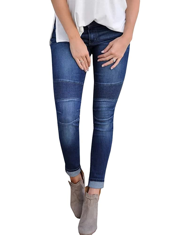 1bluee Lynwitkui Womens Destroyed Ripped Holes Skinny Jeans Leggings Mid Rise Stretchy Straight Leg Slim Fit Denim Pants