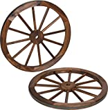 Trademark Innovations Decorative Vintage Wood Garden Wagon Wheel with Steel Rim-24 Diameter (Set of 2): more info