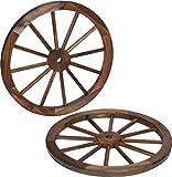 Trademark Innovations Decorative Vintage Wood Garden Wagon Wheel with Steel Rim - 24' Diameter - (Set of 2)