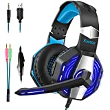 Kootop Stereo Gaming Headset for PS4 PC Xbox One, Surround Sound Over-Ear Headphones with Noise Cancelling Mic, LED Lights, Volume Control for Laptop,Phones(Blue&Black)