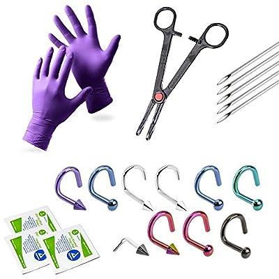 Nose Piercing Kit 10 Nose Rings 18g Tools Gloves Needles