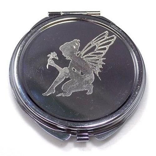 Silhouette Mirror (Fairy Silhouette New Engraved Compact Makeup Wedding Favor Mirror Case)