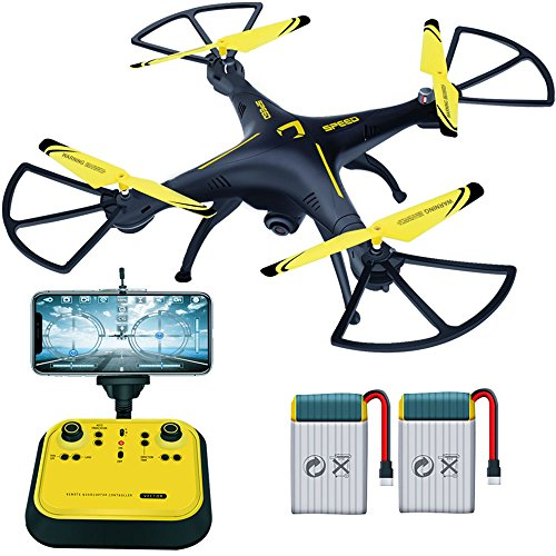 Drone with Camera Live Video Drones FPV 720P HD 2.4GHz 6-Axis Gyro Quadcopter Drone with Onekey Takeoff Headless Mode Three Speed Mode Support Cellphone ipad