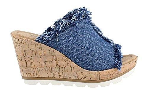 Minnetonka Vrouwen York Wedge Sandals Blue Denim