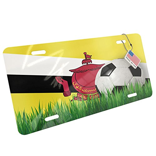 Metal License Plate Soccer Team Flag Brunei - Neonblond by NEONBLOND