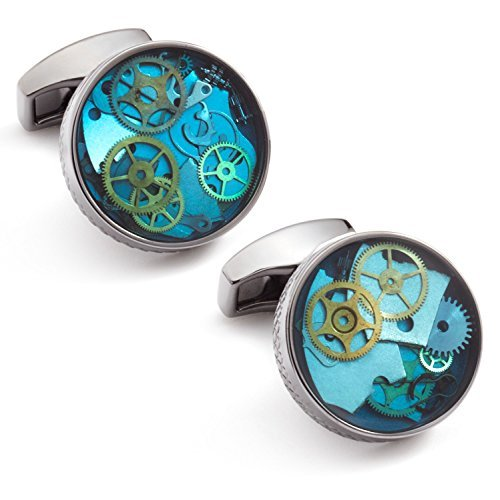 Enamel Genuine Cufflinks - Tateossian Mechanical Industrial Gear Cufflinks
