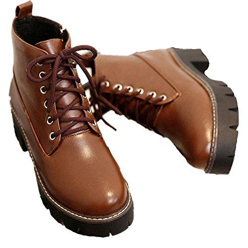 Satuki Mujeres Teen Girls Impermeable Cuñas De Tacón Alto Botas Altas Zapatos Casuales Brown (plush Lining)
