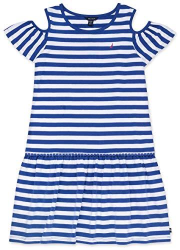 Girls Summer Dresses Size 10 (Nautica Girls' Cold Shoulder Fashion Dress stripe dark blue)