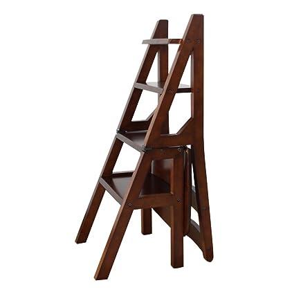 LAXF- Sillas Escalera Plegable Madera Silla Plegable de Madera de ...