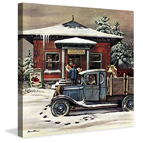 (Marmont Hill Inc Marmont Hill - Rural Post Office at Christmas by Stevan Dohanos Painting Print on Canvas - Multi-Color 18 x 18)