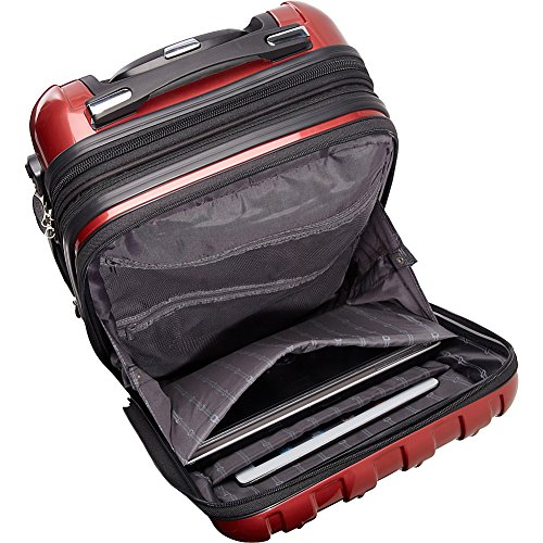 Delsey Luggage Helium Aero, International Carry On Luggage, Front Pocket Hard Case Spinner Suitcase, Titanium