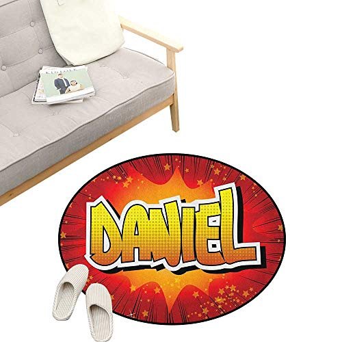 Daniel Custom Round Carpet ,Retro Backdrop with Stars and Explosion Detail with American Boys Name, Dorm Room Bedroom Home Decorative 23