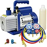 ZENY 3.5CFM Single-Stage Rotary Vane Vacuum Pump for HVAC/Auto AC Refrigerant Recharging w/ R134a AC A/C Manifold Gauge Set Combo