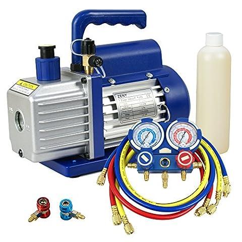 ZENY Combo 3,5CFM 1/4HP Air Vacuum Pump HVAC A/C Refrigeration Kit AC Manifold Gauge Set - Air Conditioning Service Valves