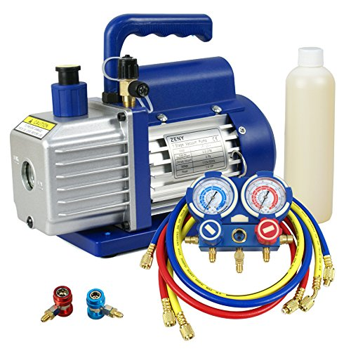ZENY 3.5CFM Single-Stage Rotary Vane Vacuum Pump for HVAC/Auto AC Refrigerant Recharging w/ R134a AC A/C Manifold Gauge Set Combo by ZENY