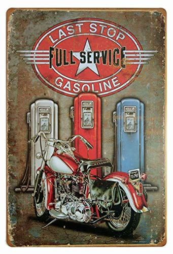 - ifidex Eletina Metal Vintage Stop Signs , Last Stop Full Service Gasoline Retro Vintage Decor Metal Tin Sign 12 X 8 Inches, Coffee Stop Sign