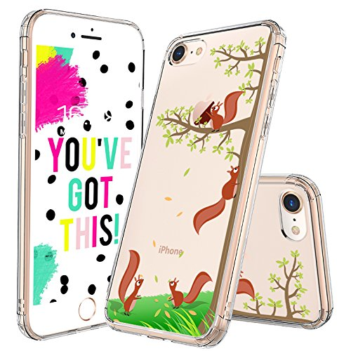 MOSNOVO iPhone 7 Case, iPhone 8 Case Clear, Cute Squirrel Pattern Clear Design Printed Transparent Plastic Hard Back Case with TPU Bumper Protective Case Cover for iPhone 7 (2016) / iPhone 8 (2017) (Case Hard Pattern)