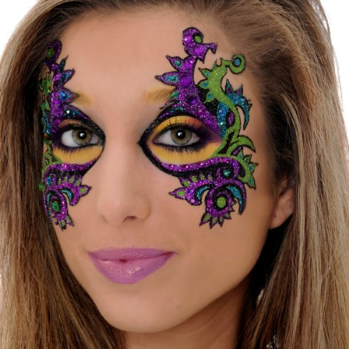 Mardi Gras EYE Mask Xotic Eyes Professional Make Up Green Purple Gold Costume -