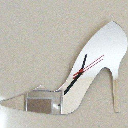 High Heel Shoe Acrylic Mirror Clock 38cm X 32cm