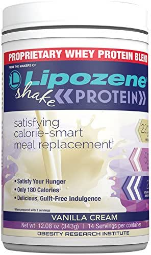 LIPOZENE Protein - Whey Shake Blend That's Gluten and Soy Free - Vanilla - Low Carb, Fat, Calorie, Sugar - for Meal Replacement or Diet - 12.08 Ounces 14 Servings