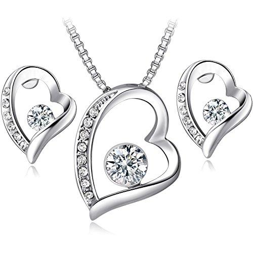 FLORAY-Mujer-Juegos-de-joyas-Colgante-de-Corazn-Collar-y-Pendientes-Chapado-en-Oro-Blanco-y-Cristal
