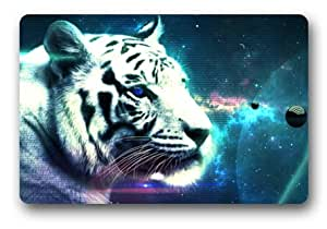 Customize Bengal Tiger Blue Eyed Royal White Floor Doormat